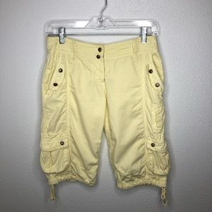 Anthropologie Hei Hei Pale Yellow Cargo Shorts